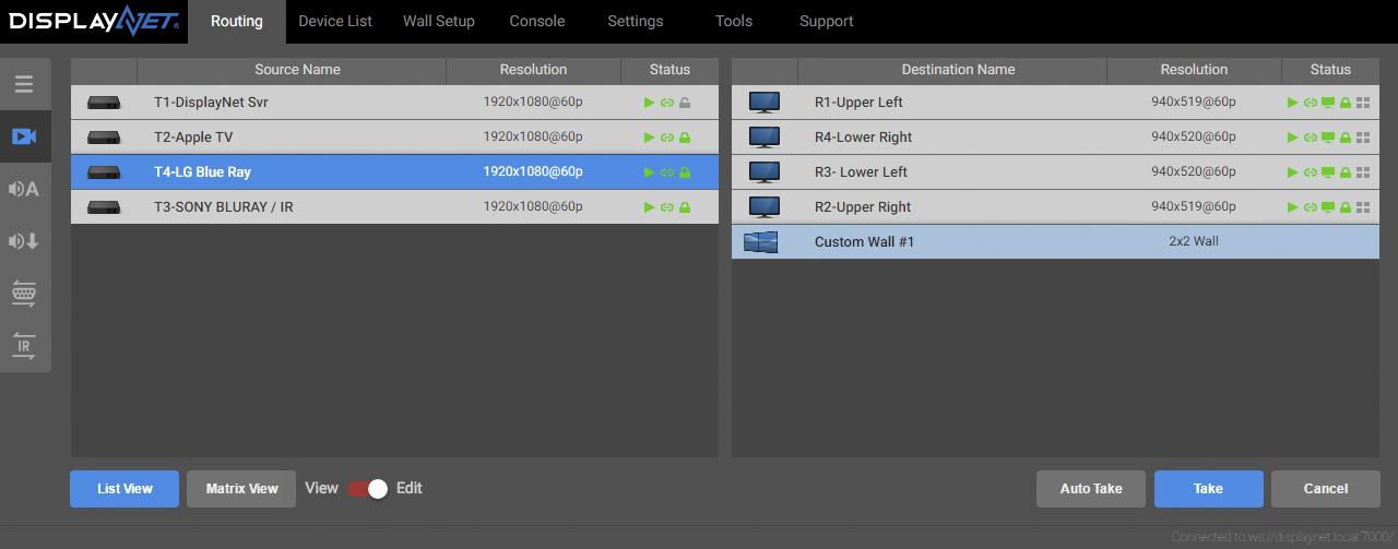 Software Routing Tab Screenshot